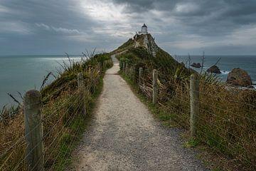 Dreigende regenwolken bij de Nugget Point vuurtoren in Nieuw Zeeland van Anges van der Logt