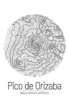 Pico de Orizaba | Landkarte Topografie (Minimal) von ViaMapia
