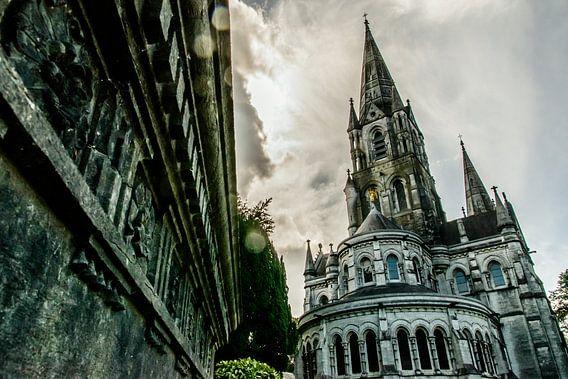 Onderaanzicht van de Saint Fin Barre's Kathedraal Cork in Ierland