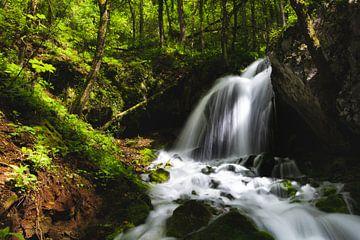 Magische waterval in betoverend groen bos van Patrik Lovrin