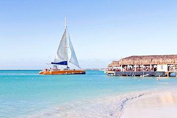 Catamaran voor anker bij Eagle beach op Aruba in de Antillen van Nisangha Masselink