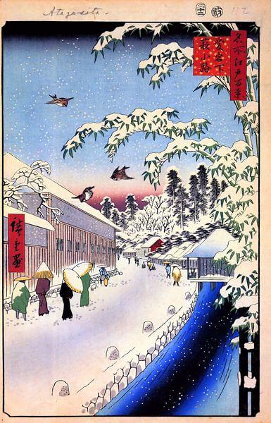 Vrouwen in de sneeuw Hiroshige van Woodblock Prints
