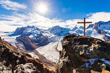 Uitzicht vanaf de Gornergrat op het Monte Rosa-massief in Zwitserland van Werner Dieterich