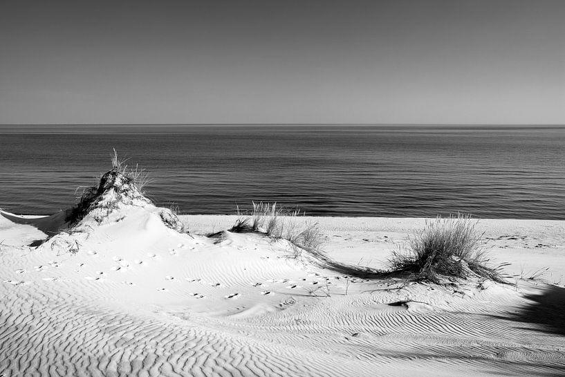 Dünen und das Meer II, schwarz weiß von Sascha Kilmer