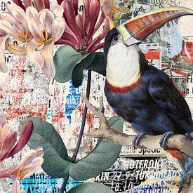 Red Billed Toucan – Street Art van Marja van den Hurk