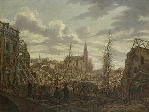 Het Rapenburg te Leiden na de ontploffing