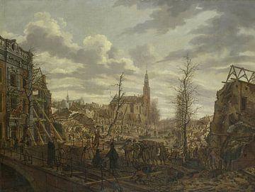 Het Rapenburg te Leiden na de ontploffing  van