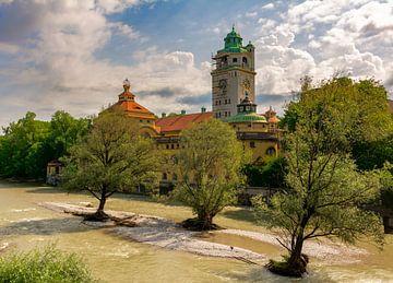 Overstroming op de Isar in München van ManfredFotos