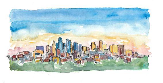 Kansas City Missouri Skyline bei Sonnenuntergang