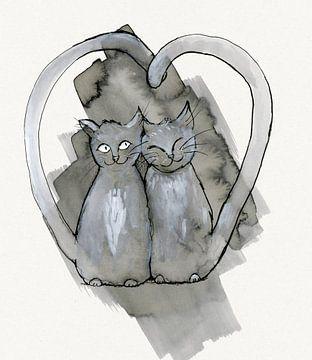 Zwei süße graue Katzen kuscheln von Bianca Wisseloo