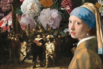 Die Nachtwache x Stilleben mit Blumen x Mädchen mit dem Perlenohrring - Landschaftsversion