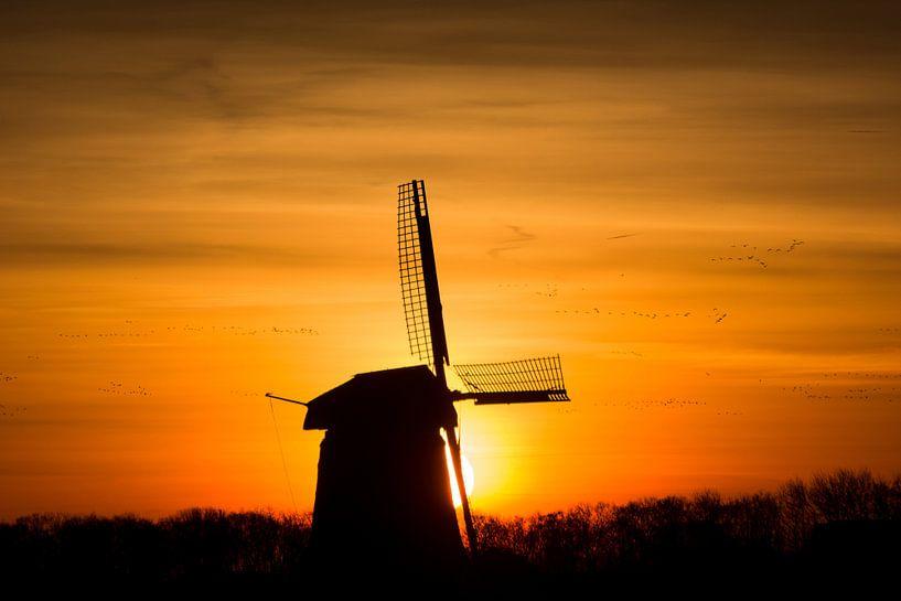 zonsopkomst met oude molen 03 van Arjen Schippers