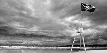 Strand met naderende storm (zwart-wit)