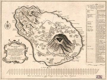 Karte des Heiligen Eustatius 1775 von Atelier Liesjes