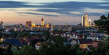 Panorama de la ville de Leipzig au coucher du soleil