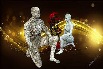 3D-illustratie. Versteende mensheid. van Norbert Barthelmess