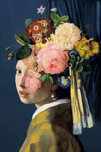 Meisje Met de Parel – The Floral on Blue Edition von Marja van den Hurk