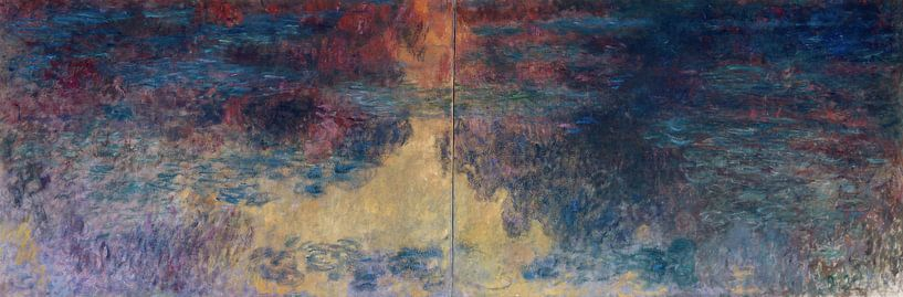 De waterlelievijver in de avond, Claude Monet... van Meesterlijcke Meesters