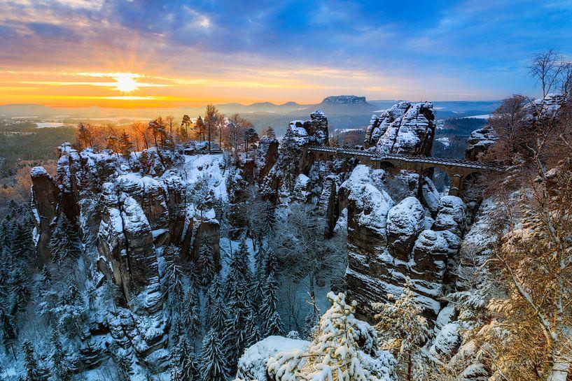 Januarmorgen an der Bastei von Daniela Beyer