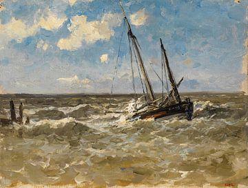 Carlos de Haes-Normandie Seebootslandschaft, Antike Landschaft