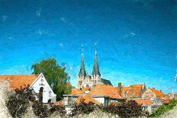 Geschilderde Skyline Deventer met de Bergkerk van Arjen Roos