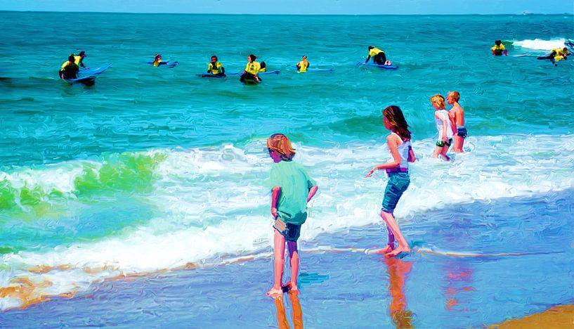 Surfschool bij Scheveningen van Frans Jonker