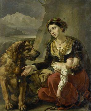 Ein Bernhardinerhund hilft einer verlorenen Frau mit einem kranken Kind, Charles Picqué