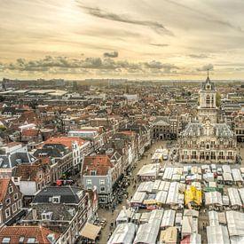 Markt op de Markt in Delft van Sven Wildschut