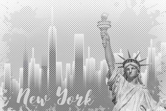 Graphic Art NEW YORK Mix No. 1 | white | splashes van Melanie Viola