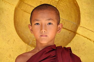Mönch posiert für goldenen Gong von Affect Fotografie