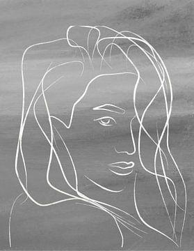 portret vrouw zwart wit van Nicole Roozendaal