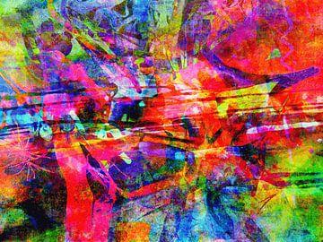 Modern, Abstract Digitaal Kunstwerk in Rood, Blauw, Groen van Art By Dominic