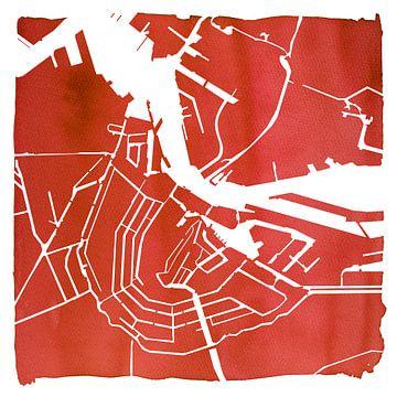 Carte d'eau Amsterdam rouge | Carré avec cadre blanc sur - Wereldkaarten.shop -