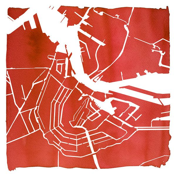 Amsterdam Waterkaart Rood | Vierkant met Witte kader van - Wereldkaarten.shop -