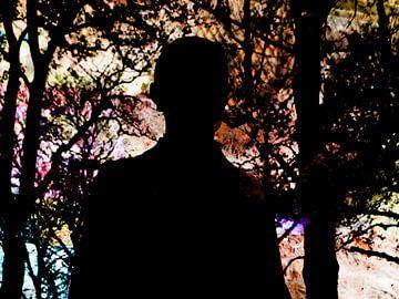 Persoon in het bos. van Richard Brinkman