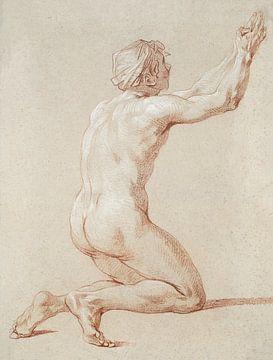 Kniender nackter Mann mit erhobenen Händen , Etienne Jeaurat (1730-1736) von Atelier Liesjes