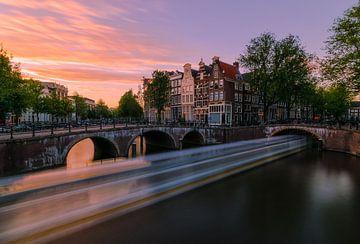Zonsondergang in Amsterdam van Georgios Kossieris