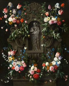 Garland of Flowers surrounding a Sculpture of the Virgin Mary, Daniel Seghers, Thomas Willeboirts Bo