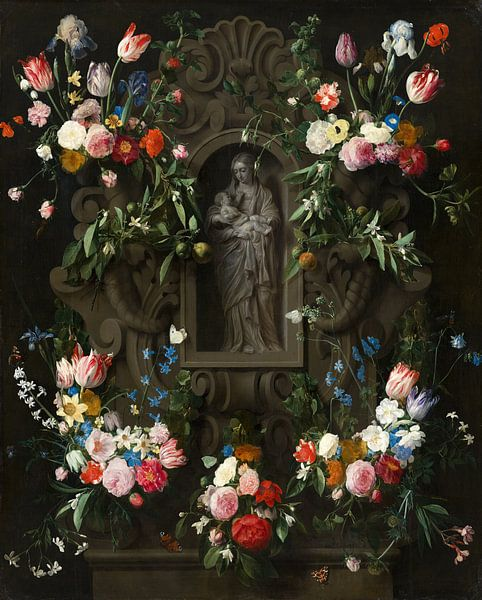Garland of Flowers surrounding a Sculpture of the Virgin Mary, Daniel Seghers, Thomas Willeboirts Bo von Meesterlijcke Meesters