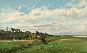 Carlos de Haes-Lente grünes Gras, Rustikales Ackerland, Antike Landschaft