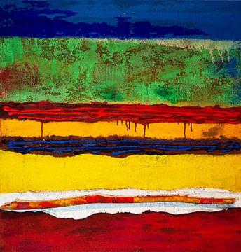 Farbstrukturfelder mit Stock von Klaus Heidecker