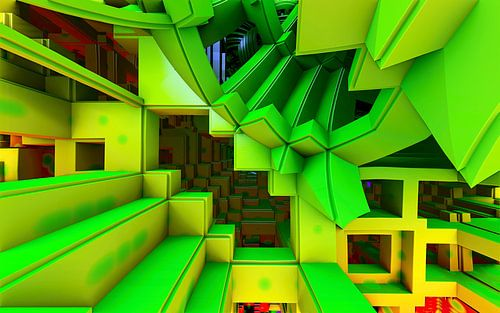 driedimensionale trap in het groen