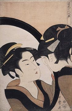 Sugatami shichinin kesa = [Seven women applying make-up using a full-length mirror], Kitagawa, Utama sur