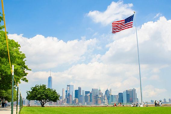 Skyline van New York vanaf Ellis Island