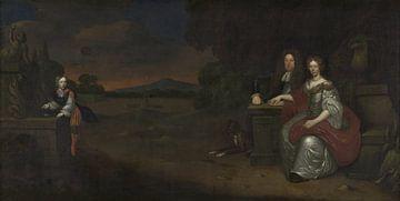 Familieportret van Joost Christoffel van Bevervoorde en Judith Margaretha van Coeverden tot den Stoe sur