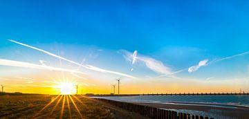 Oosterscheldekering Zonsondergang Zeeland van Andrea de Vries
