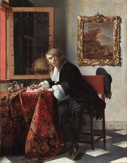 Gabriel Metsu. Jonge man die een brief schrijft van 1000 Schilderijen
