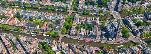 Luchtfoto panorama Anne Frank huis gebied van Anton de Zeeuw