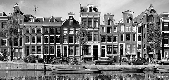 Panorama Grachtenpanden Amsterdam, Nederland van Roger VDB