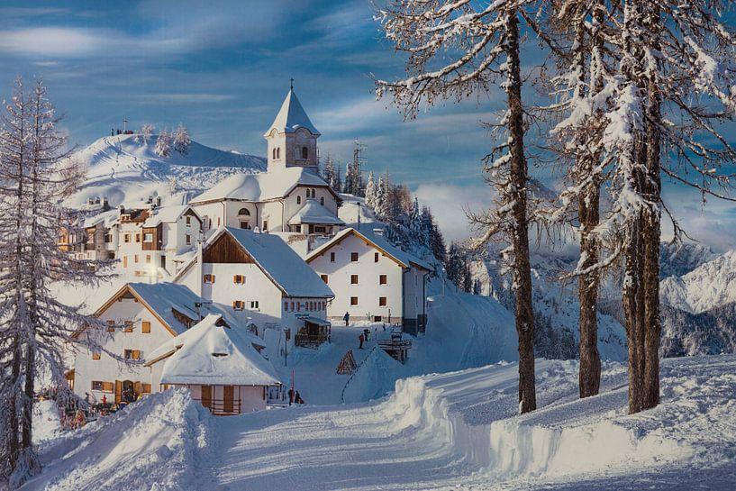 Italie winter landschap. van Giovanni della Primavera